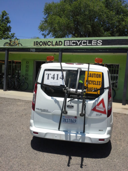 Race Across America team stopping at